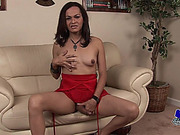 Mature shemale strokes for you in red blouse