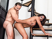 Gorgeous shemale with big cock gets shagged hard