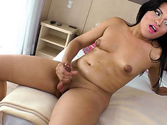 Shemale plays with her tasty nice penis and want to cum