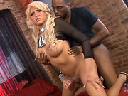 Busty tgirl Marjorie rides a black cock