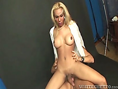 Blonde shemale with huge dick fucking guy and enjoy it a lot
