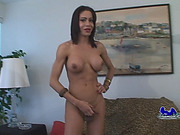 Sexy busty tranny jerks off on leopard couch