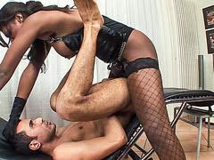 Big tits black shemale hard fucks horny male