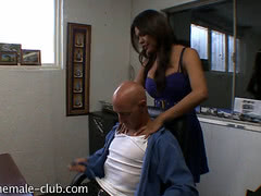 Sexy tranny gives her boss an awesome massage