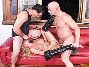 Two guys suck and fuck busty blonde tranny