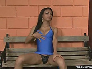 Brunette shemale strips and strokes