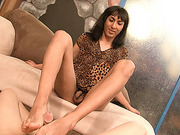 Guy in a foot fetish clip with a nasty mexian tranny Kida Johana