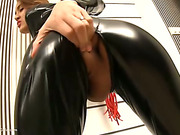 Sexy ladyboy in latex fucked bareback