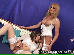 Two shemales with a slave