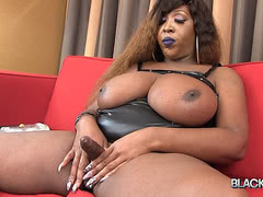 Fat black tgirl with giant boobs fucking a fleshlight