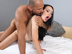 Busty TS Kimberlee wakes up muscular guy to drill her tight shemale ass