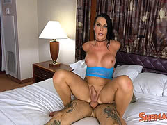 Big breasted tgirl Marissa Minx rides a throbbing boner