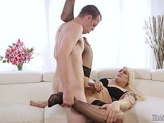 Thick blonde Isabella Sorrenti has her transsexual ass drilled