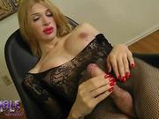 Hot Alexis jerks in body stocking