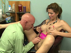 Hot shemale gets down and nasty with her boss at the office