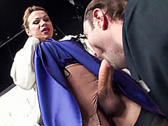 Hung shemale gets her huge hard cock sucked