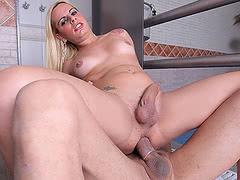 The sexy tranny Thays Schiavinato gets fucked by huge monsterock Ramon
