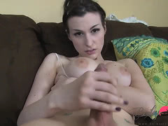 Busty TS Bailey masturbating