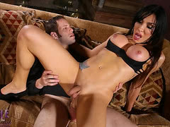 Amazing shemale Eva rides a huge cock