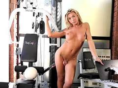 Tgirl Aubrey pleasuring herself in the gym