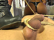 Guy gangbanged by shemale dommes