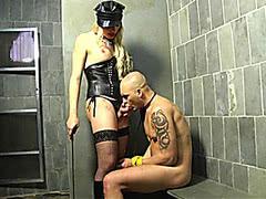 Shemale dominatrix Mirela Abelha fucks guy in prison
