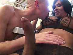 Beautiful shemale Ariadny with a monster cock fucks an Italian guy