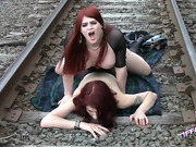 Tiffany screwing Carissa on railroad