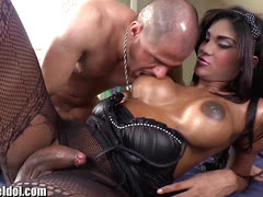 Alex Victor ass fucked by busty latina shemale