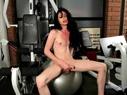 Hot Penny masturbating in the gym