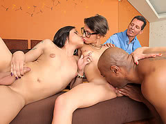 Hardcore interracial threesome with the sexy tranny Mariana Pink