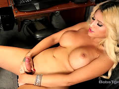 Busty tgirl Sofia jerking her huge cock
