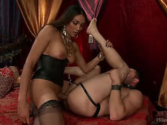 Shemale pornstar Yasmin Lee punishes slave boy