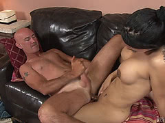 Brunette tranny fucks and is fucked hardcore