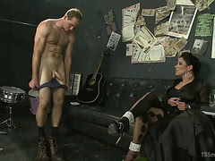 Horny tgirl punishes hung guy