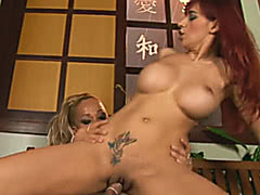 Hot blonde shemale fucked female whore