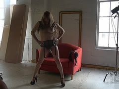 Rock hard TS Jesse in heels and lace