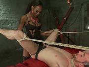 Black shemale dom fucks a tied white slave