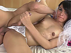 Tiny tits shemale in veil anal rammed