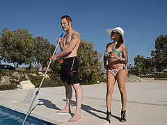 Horny Foxxy riding the pool guy
