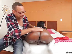Cute black shemale gets huge cock in her pretty ass