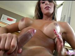 Booby tranny masturbates her tight ass and strokes her dick