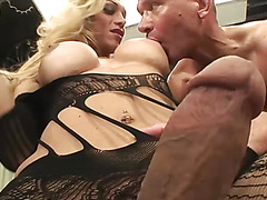 Busty blonde tgirl fucks her boyfriend with her massive cock