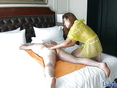Ladyboy gives a rimjob massage and gets her asshole fucked