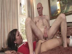 Horny tranny Carmen Moore anal fucking with nasty bald dude