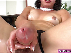 Horny TS Gina Hart butt plugged and jerks off until she cums