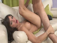 Tight shemale with big tits gets pounded in her ass on sofa