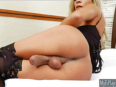 Busty TS Karol Kovalick strokes her cock until it cums