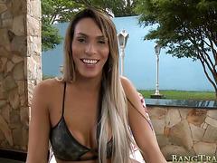 Busty tranny Camily Victoria gets ass banged at the veranda