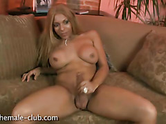 Beautiful big tit brown tranny masturbates